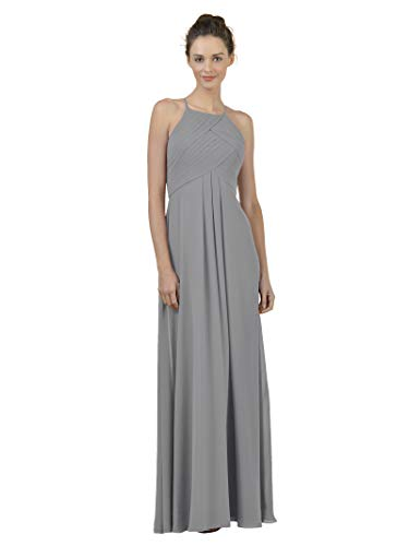 Alicepub Long Chiffon Bridesmaid Dress Maxi Evening Gown A Line Plus Party Dress, Dove, US16