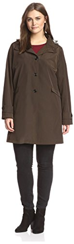 Jane Post Plus Women's Button Front Swing Coat, Army, 2X ()