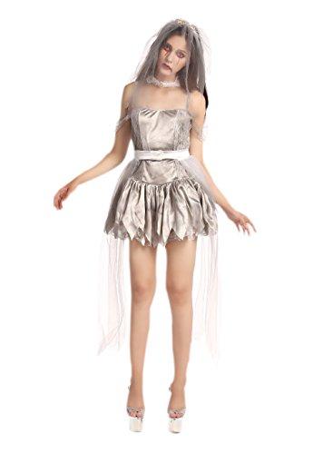 JJ-GOGO Zombie Bride Costume - Sliver Halloween Scary