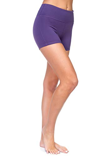 AEKO Women's Active Fitness Sports Yoga Booty Shorts for Running Gym Workout ((M) - U.S SIZE 6-8, DARK VIOLET) -