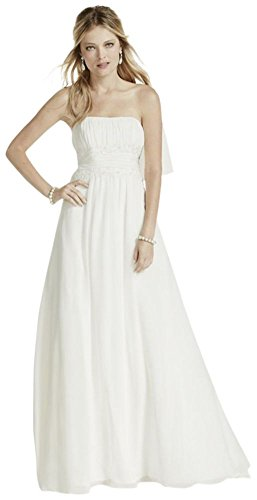 (Soft Chiffon Wedding Dress with Beaded Lace Detail Style V9743, White, 14)