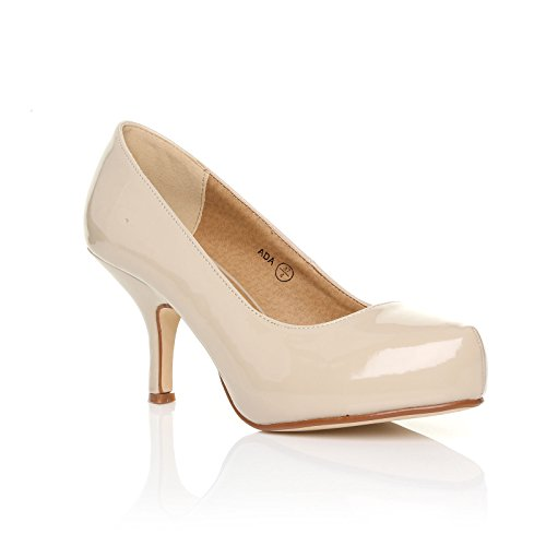 CORE New Work Court Size Ladies Casual Pump MID Womens PATENT Office 3 Smart NUDE Shoes Heel COLLECTION 8 r5qw8r