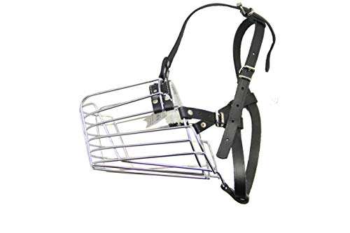 PetriStor Dog Chrome Metal Muzzles Wire Basket Adjustable Leather Straps German Shepherd Reinforced (№3) Circumference is 18in, Length is 7.2in