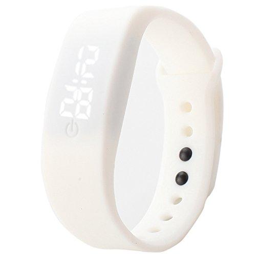 Unisex White Rubber Bracelet LED Digital Wrist Watch - 2