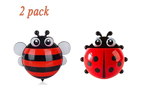 Bestga 2 PCS Cute Cartoon Ladybug and Bee Kids Wall Suction Cup Mount Toothbrush Holder Pencil and Pen Container Box Travel Organizer Plastic Pocket Storage Organizer - Red