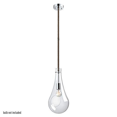 (Globe Electric 65263 1 Light Terrarium Pendant with Rope Cord, Chrome Finish, 1x Medium Base Bulb (Sold Separately))