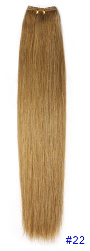 """European hair 25"""" 4.9oz weft without clip,100% remy human hair,cheap hair extensions,straight hair,wavy style in the picture available #22 Dark Golden Blonde"""