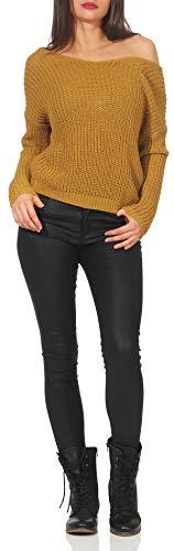 Tricoté Taille Unique Femme 7340 Dossier Malito Pullover Pull Jaune Sans n8wx0