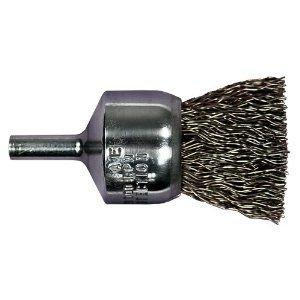 PFERD 82962 Power Stem Mounted Crimped Wire End Brush, Round Shank, Carbon Steel Bristles, 1/2