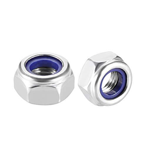 uxcell M10 x 1.5mm Nylon Insert Hex Lock Nuts, 304