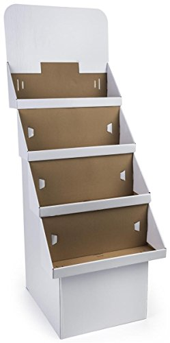 4-Tier Point of Purchase Dump Bin Display with Removable Header, White Corrugated Cardboard - Sold in Sets of 2