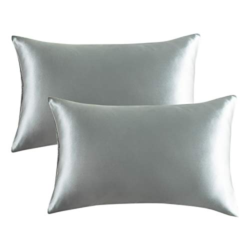 Bedsure Satin Pillowcase for Hair and Skin, 2-Pack - Queen Size (20x30 inches) Pillow Cases - Satin Pillow Covers with Envelope Closure, Granny Grey