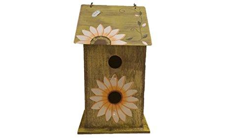 Sunflower Birdhouse - Wooden Birdhouses - TALL Green - Birdhouses For Outside - Birdhouses Decorative - Colorful Birdhouse - Chickadee Birdhouse - Finch Birdhouse - Wren Birdhouse - Painted Birdhouse