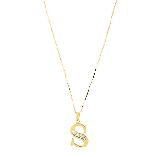 14k Yellow Gold Large Cubic Zirconia Initial Pendant Necklace, S, 18 Inches