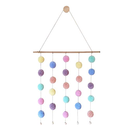 Yamalans Nordic Style Colorful Pom Pom Ball Wall Wooden Hanging Ornaments Girl's Room Decoration Random Color