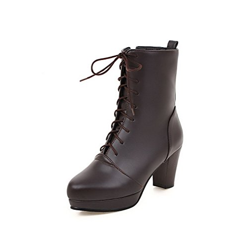 Allhqfashion Women's Round Closed Toe High-Heels Soft Material Low-top Solid Boots Brown NV3Im2