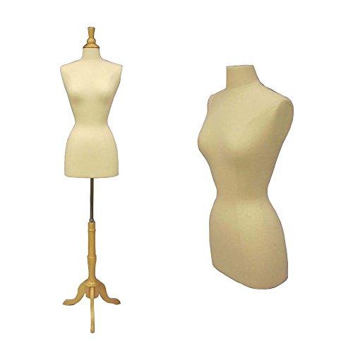 New White Female Dress Form Size 6-8 Medium w/Triple Wooden Base, solid foam (JF-FWP-W+BS-01NX)
