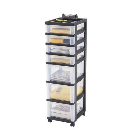 - IRIS 7-Drawer Rolling Storage Cart with Organizer Top, Black