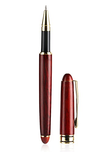 Rosewood Laser Pen (Natural Handcrafted Rosewood Ballpoint Pen for Signature Calligraphy Executive Business, with Extra 3 Stainless Steel Fine Point Black ink Refill)