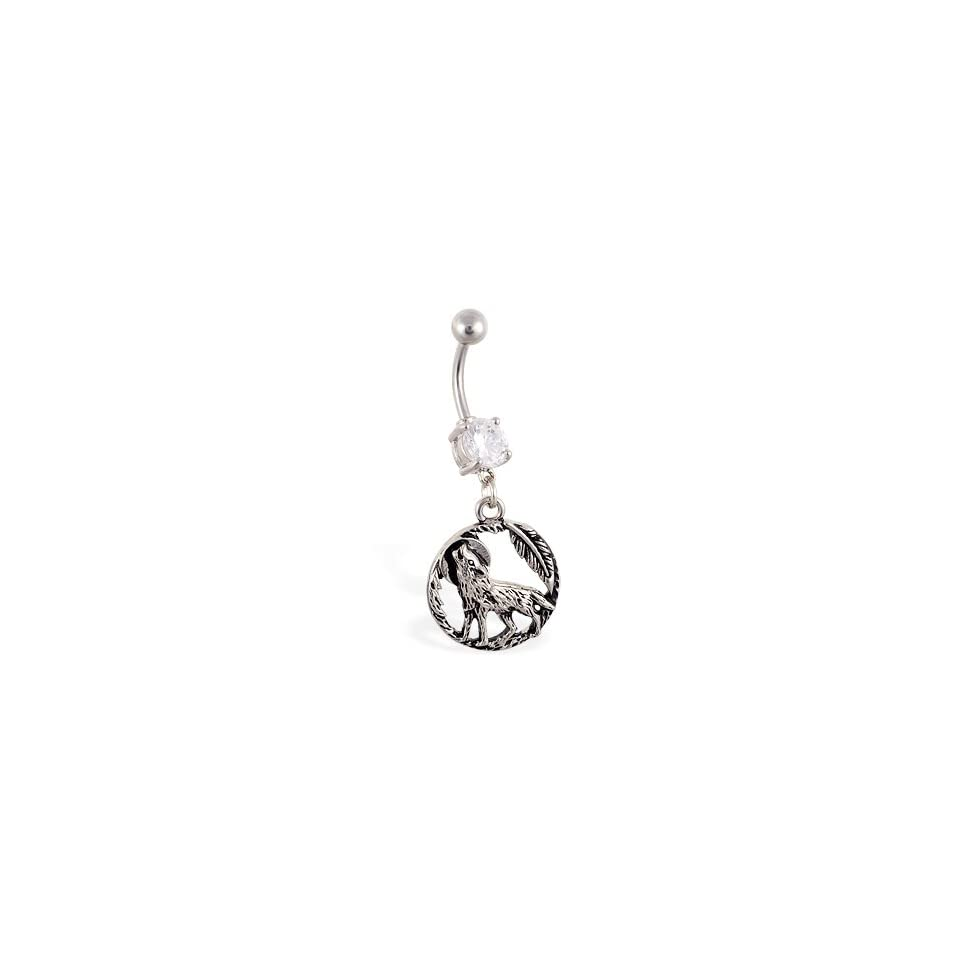 Belly ring with dangling full moon feathers and wolf