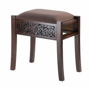 SKB Family Foot Stool Carved Regent Wood Footstool Rectangular Vanity Stool