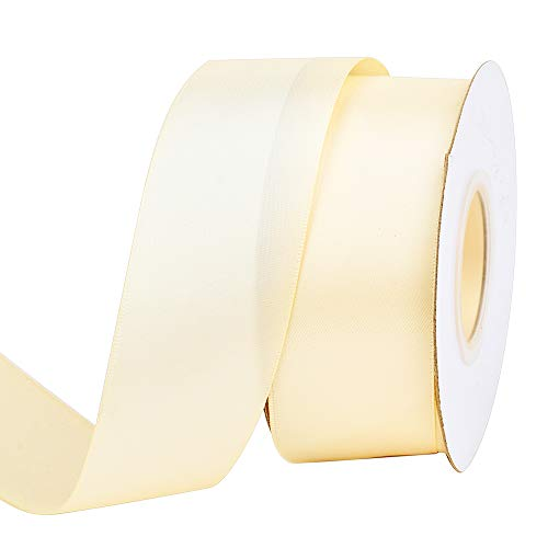 Ribest 1-1/2 inch 25 Yards Solid Double Face Satin Ribbon Per Roll for DIY Hair Accessories Scrapbooking Gift Packaging Party Decoration Wedding Flowers Ivory