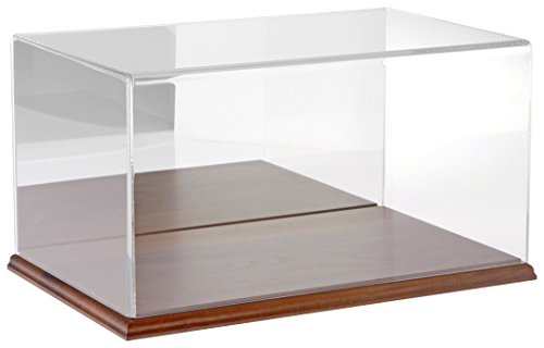 Plymor Brand Clear Acrylic Display Case with Hardwood Base (Mirror Back), 16