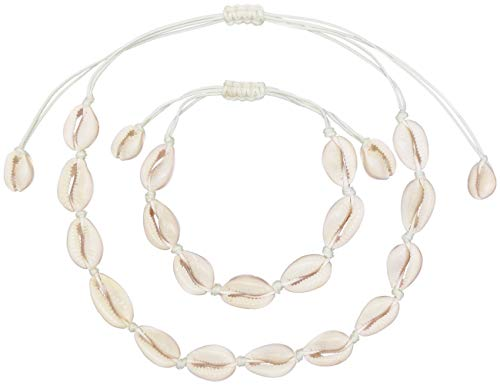 LEYSTARE Natural Sea Shell Beads Handmade Hawaii Wakiki Beach Choker Necklace Adjustable Bracelet Anklet for Girls Ladies (White Necklace and Anklet) ()