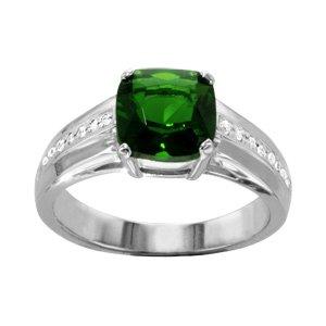 1001 Bijoux - Bague argent rhodié pierre verte carrée oxydes blancs sertis