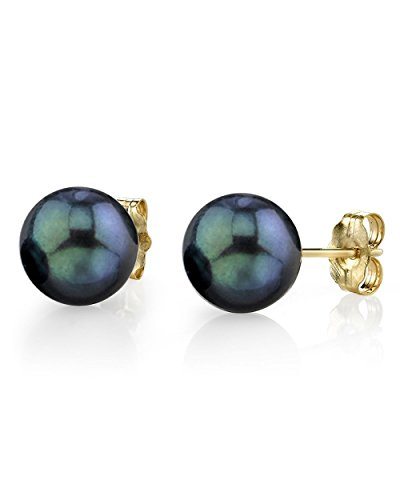 6.5-7.0mm Black Akoya Cultured Pearl Stud Earrings in 14K Gold - AA+...
