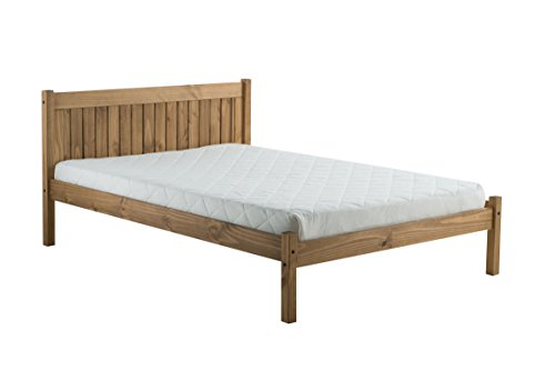 Birlea Rio Waxed Pine Wooden Bed - Small Double (120 x 190 cm), Brown by Birlea
