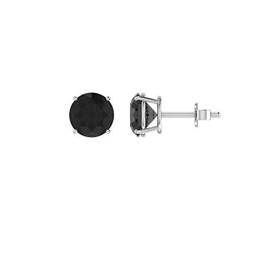- Solid 14k White Gold 0.2 CT Black Diamond Stud Earrings, Cute, Prong Setting, Sparkling Diamond Earrings
