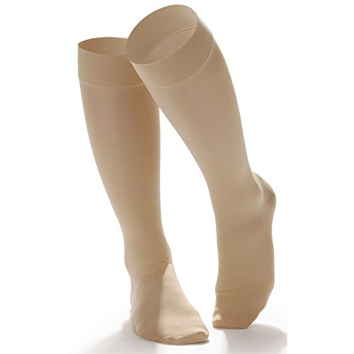 Doctor Comfort Compression Knee High 20-30mmHg Women's Whisper Control Top True Beige (XX-Large, Closed Toe) (High Top Knee)