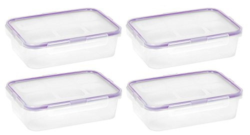 Snapware 1098447 4.5-Cup Airtight Rectangle Container with Purple Seal, Pack of 4 Containers (Snap Seal Containers compare prices)
