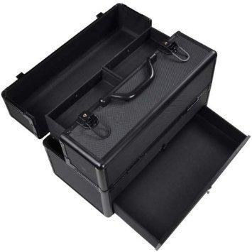 Triprel Inc Professional Lightweight Portable Aluminum Key-locked ABS Cosmetic Train Case w/ Drawer - Black by Triprel Inc