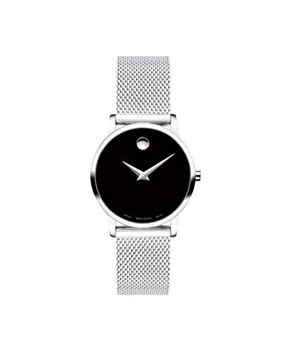 Movado Women's Museum Stainless Steel Watch with a Concave Dot Museum Dial, Black/Silver (607220) ()