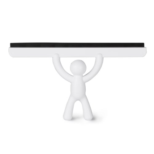 Umbra Buddy All-Purpose White Squeegee For Car Glass/Window/Mirror - Durable Silicone Wiper Blade With Soft Buddy Non-Slip Hand - Removes Water Spots From Shower Surfaces and Bathroom Mirrors (Rubber Purpose All Silicone)