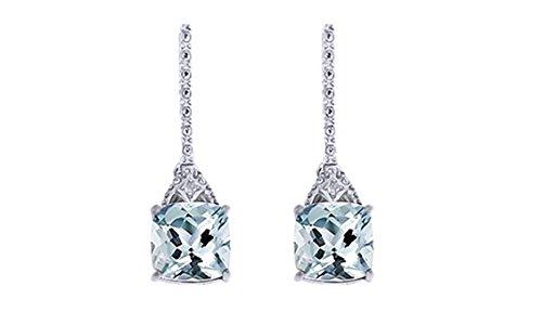 Simulated Aquamarine & White Natural Diamond Dangle Earrings in 14k White Gold Over Sterling (14k Wg Diamond Dangle)