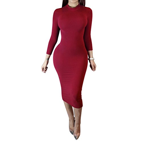 Laiyuan Women Turtleneck Long Sleeve Slim Bodycon Wrap Tunic Pencil Midi Dress