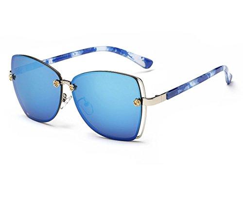 Konalla Square Rimless Flash Mirror Metal Little Flower Sunglasses for Womens - D&g Sunglasses Flower