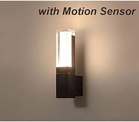 WSYKC Aplique de Pared Interior Exterior con Sensor de Movimiento, Lámpara de Pared LED Negro Industrial, para Bano Jardín Escaleras Dormitorio Cocina Pasillo Hotel Caminos, Blanco Cálido/Frio cold-si: Amazon.es: Hogar
