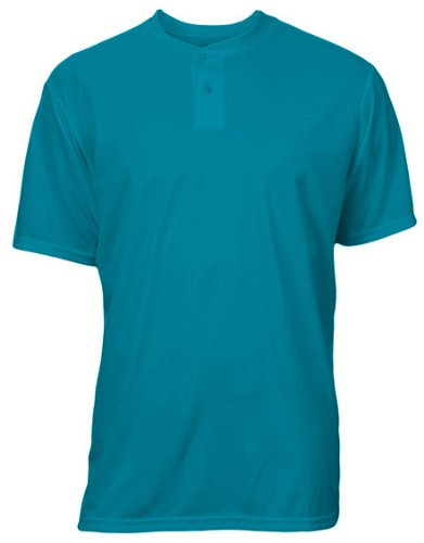 - Soffe Youth Unisex Dri 2 Button Henley Baseball Jerseys X-Large Teal