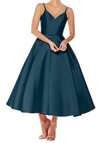 V A Rock Charmant Brautjungfernkleider Linie Wadenlang Abendkleider Ballkleider Ausschnitt Blau Damen Dunkel Festlichkleider Kurz Zxw1EAq6