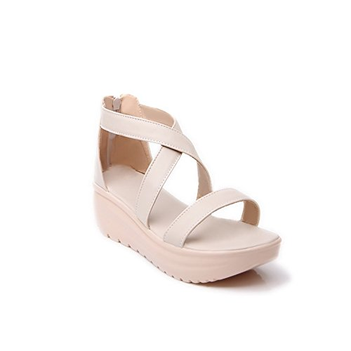 VogueZone009 Womens Open Toe Mid Heel Soft Material PU Solid Sandals with Zippers Beige cD4Yyd
