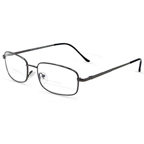 In Style Eyes Enda Middle Bifocal Reading Glasses Pewter 2.00