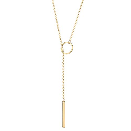 (Befettly Y Karma Necklace Pendant Women Simple 14k Gold Filled Polished Long Necklace Y-1-O )
