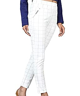Respect Women Women's Stretchable Formals/Casual Check Pants (White, 26-32 Inch)