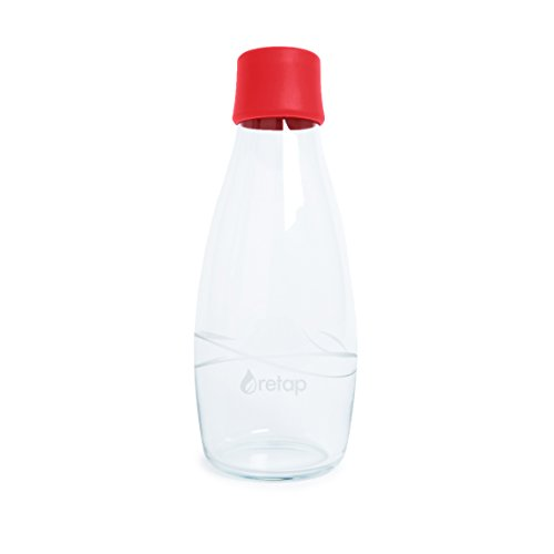 Retap Eco-Friendly Refillable BPA Free Borosilicate Glass Bottle and Water Infusion - Red – 17-Ounce by ReTap