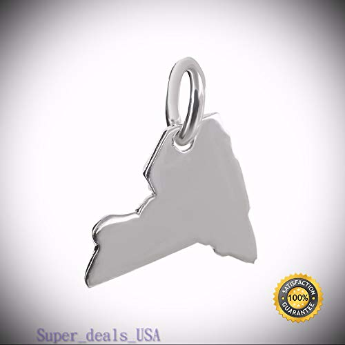 New York State Charm - 925 Sterling Silver Tiny Outline Big Apple NY Northeast DIY Handmade Ornament Crafts