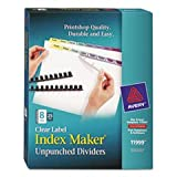 Index Maker Clear Label Contemporary Color Dividers, 8-Tab, 25 Sets/pack By: Avery